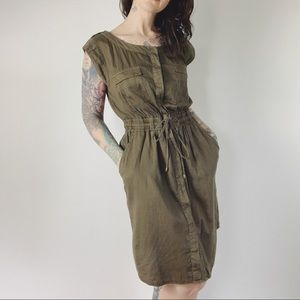 ANTHRO HEI HEI Olive Army Utility Dress Cotton